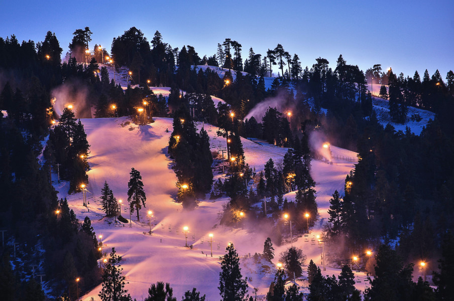 Big Bear ski area at night